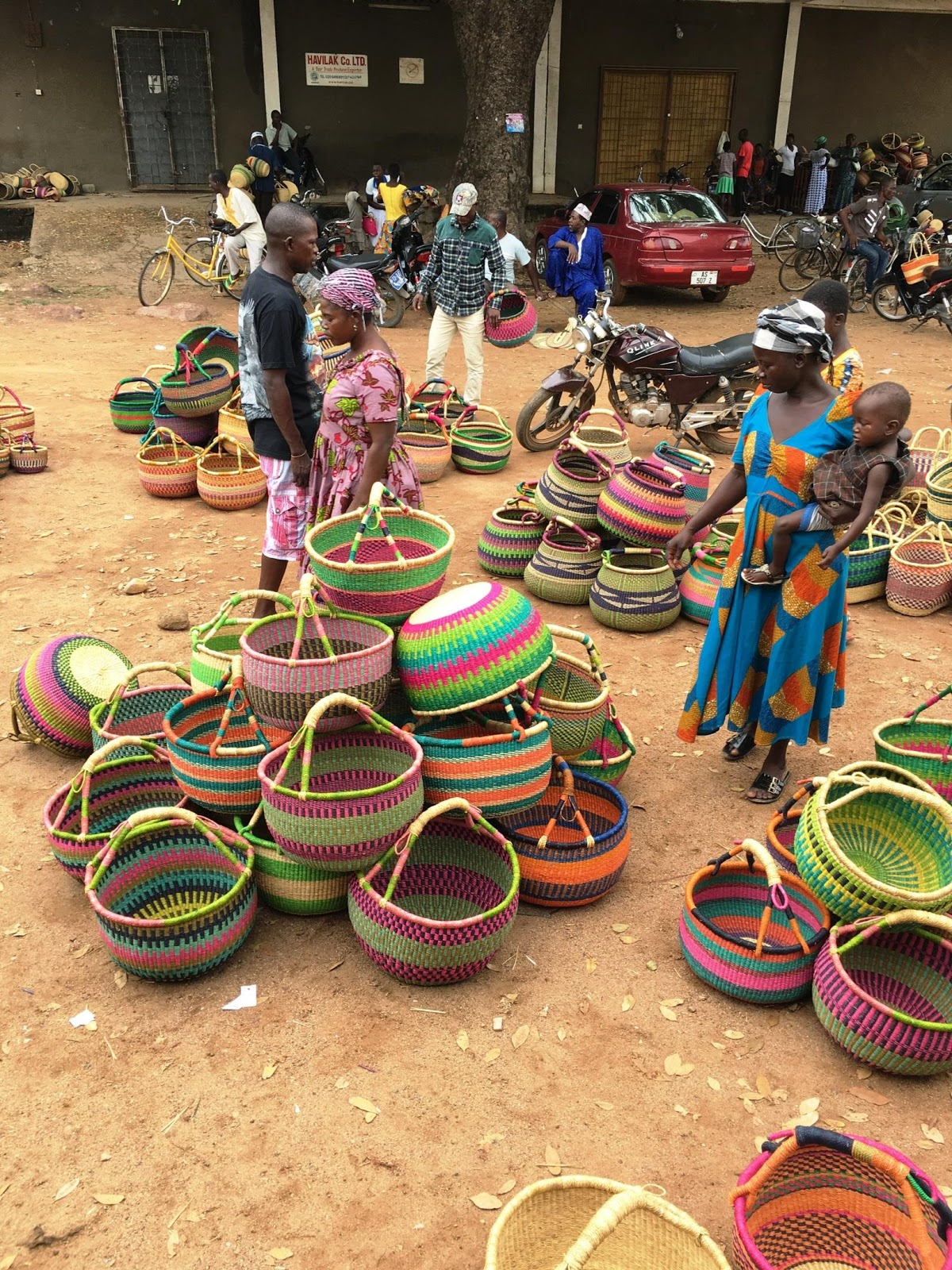 Some of the women groups with their basket s ready  to sell to   Paku Enterprise Ghana