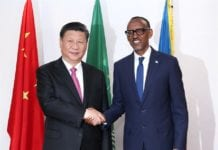 Chinese President Xi Jinping (L) holds talks with Rwandan President Paul Kagame in Kigali, Rwanda, July 23, 2018. (Xinhua/Pang Xinglei)