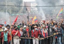 Ecuador protest against IMF imposed austerity measures, Oct. 2019