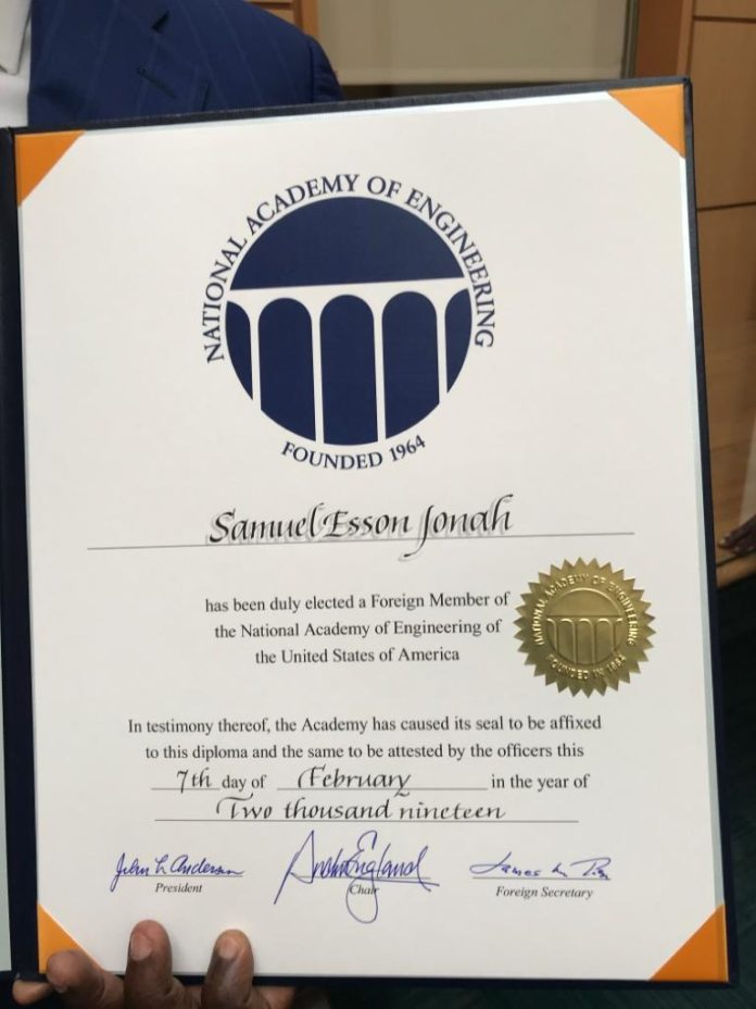 US Academy of Engineering honours Sir Samuel Esson Jonah