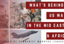 Communist Workers League Graphic on Public Forum on the Middle East and Africa for Nov. 16, 2019