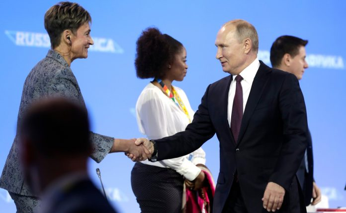 Professor Irina Abramova, Director of the Institute of African Studies under the Russian Academy of Sciences, with Russia President Vladimir Putin. Photo Credit: Kremlin.ru