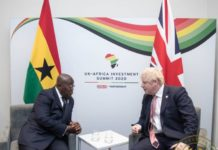 Ghanaian President Nana Addo Dankwa Akufo-Addo and British Prime Minister Boris Johnson