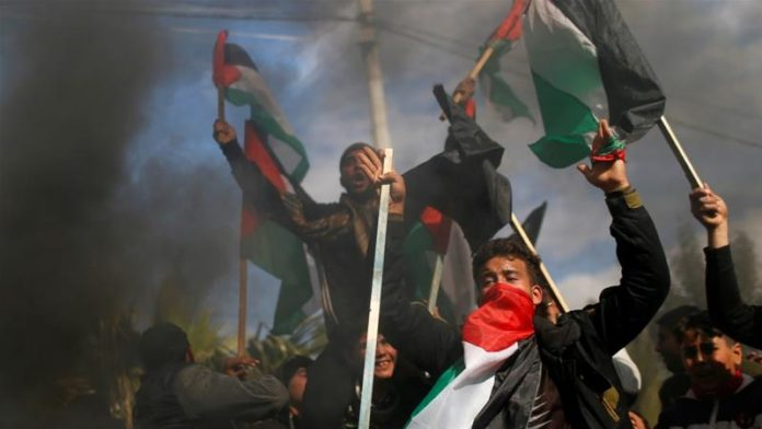 Palestinian leaders have rejected the plan as an attempt by the US and Israel to 'finish off the Palestinian cause' [Mohammed Salem/Reuters]