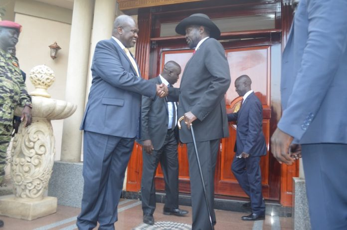 South Sudanese President Salva Kiir (R) shakes hands with South Sudan's exiled rebel leader Riek Machar in Juba, capital of South Sudan, Sept. 9, 2019. Riek Machar arrived in Juba on Monday for face-to-face talks with President Salva Kiir. President Kiir and Machar are expected to discuss and reevaluate progress and challenges facing the revitalized peace deal they signed in September 2018 in Ethiopia to end more than five years of conflict. (Xinhua Denis Elamu)