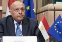 FILE: Egyptian Minister for foreign affairs Sameh Shoukry arrives for an EU Egypt Association council on December 20, 2018 in Brussels, Belgium. (Photo by Thierry Monasse/Getty Images)