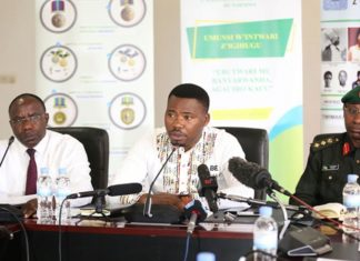 (L-R) The Chancellor of the Chancellery for Heroes, National Orders and Decorations of Honour, Pierre-Damien Habumuremyi, Minister of State in the Ministry of Youth and Culture, Edouard Bamporiki, and Director of Rwanda Peace Academy Col Jules Rutaremara during Press Conference in Kigali yesterday. Photo: Sam Ngendahimana.