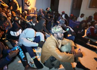 Migrants are rescued by the Libyan Coast Guard in Tripoli, Libya, Nov. 29, 2019. The Libyan Coast Guard on Friday rescued more than 200 migrants off the country's western coast, the International Organization for Migration in Libya (IOM Libya) said. Libya has become a preferred departure point for migrants hoping to cross the Mediterranean Sea into Europe due to the insecurity and chaos in the North African country following the 2011 uprising that toppled former leader Muammar Gaddafi. (Photo by Hamza Turkia/Xinhua)