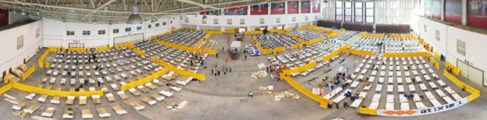 Aerial panoramic photo taken on Feb. 4, 2020 shows the interior of a cultural building complex dubbed