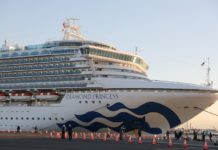 "Photo taken on Feb. 6, 2020 shows the ""Diamond Princess"", a cruise ship which has been kept in quarantine at the port of Yokohama in Japan. Test results show that nine passengers and a crew member on a cruise ship quarantined off the coast in Japan are infected with the novel coronavirus, the Japanese health ministry said Wednesday. (Xinhua/Du Xiaoyi)"