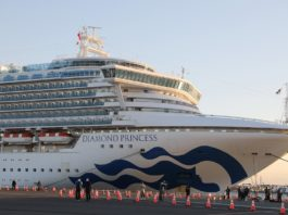"""Photo taken on Feb. 6, 2020 shows the """"Diamond Princess"""", a cruise ship which has been kept in quarantine at the port of Yokohama in Japan. Test results show that nine passengers and a crew member on a cruise ship quarantined off the coast in Japan are infected with the novel coronavirus, the Japanese health ministry said Wednesday. (Xinhua/Du Xiaoyi)"""
