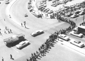 Nashville mass demonstration in April 1960 led by Diane Nash and John Lewis