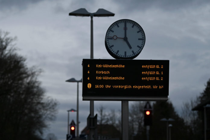 A sign in Oberelsungen, Hesse reads that train traffic is