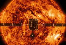 An undated handout image made available by NASA shows an illustration of ESA's (European Space Agency's) Solar Orbiter spacecraft against the backdrop of an image of the Sun captured by NASA's Solar Dynamics Observatory (issued 05 February 2020). Solar Orbiter will capture the very first images of the Sun's polar regions. These images will provide key insights into the poorly-understood magnetic environment there, which helps drive the Sun's 11-year cycle and its periodic outpouring of solar storms. NASA is targeting 11:03 p.m. EST on 09 February 2020 for the launch of Solar Orbiter, an international collaborative mission between ESA and NASA. The spacecraft will launch on a United Launch Alliance Atlas V 411 rocket from Space Launch Complex 41 at Cape Canaveral Air Force Station (CCAFS) in Florida, USA. EPA/ESA/ATG MediaLab/NASA HANDOUT HANDOUT EDITORIAL USE ONLY/NO SALES
