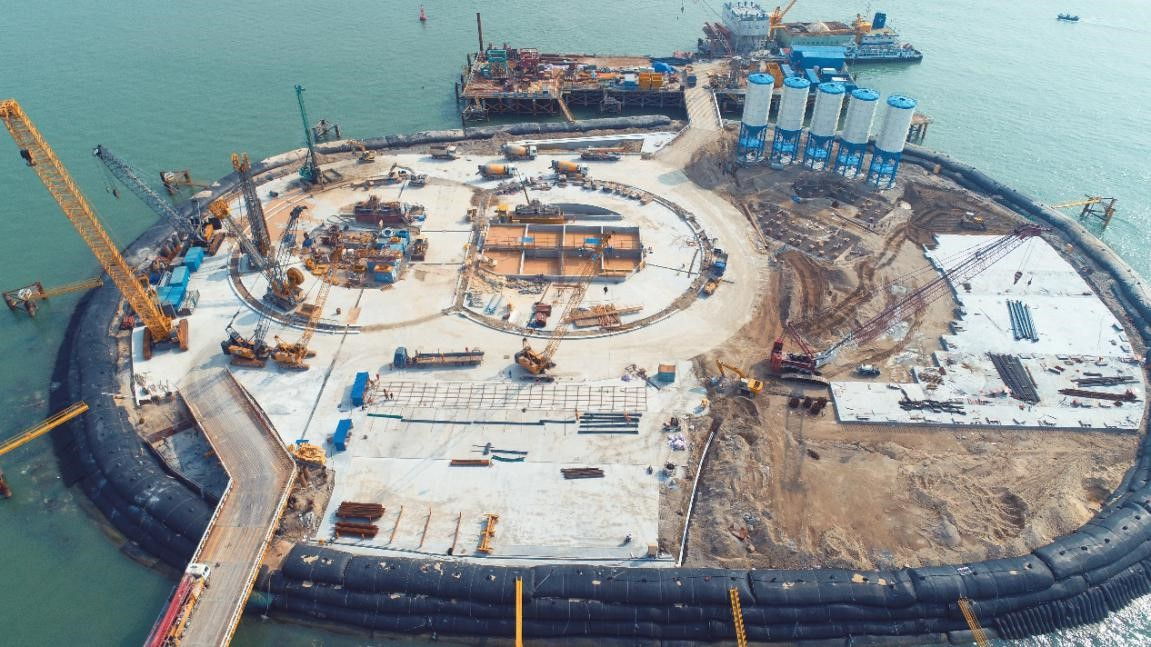 Construction begins at a circular excavation site of the Shenzhen-Zhongshan Link, a major project under the Guangdong-Hong Kong-Macao Greater Bay Area, Feb. 24. Photo by He Linping, People's Daily